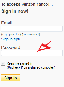 verizon yahoo login step 2