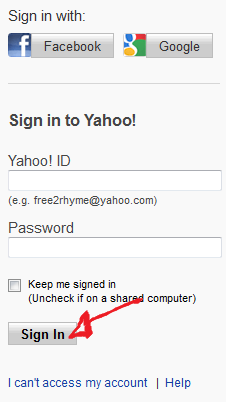 yahoo sign in step 3