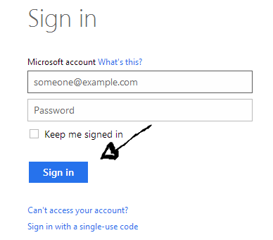 hotmail login step 3