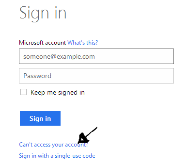 hotmail recover reset password step