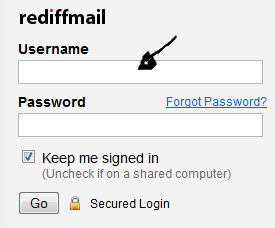 rediffmail sign in step 1