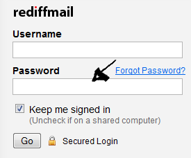 rediffmail sign in step 2