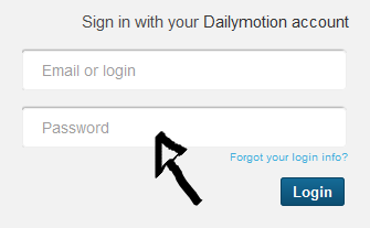 dailymotion sign in step 2