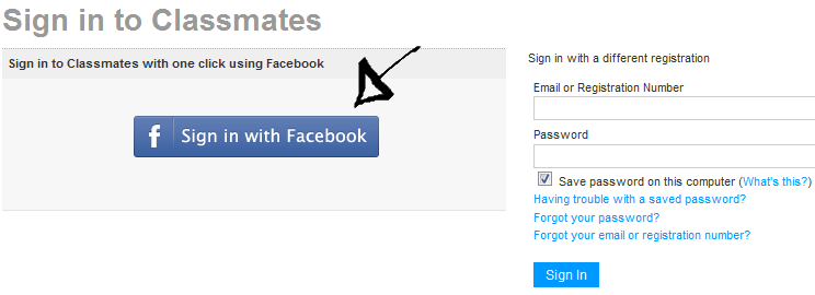 classmates sign in with facebook