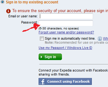 expedia login step 3