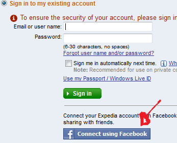expedia login with facebook