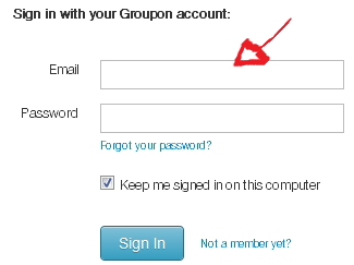 groupon sign in step 2