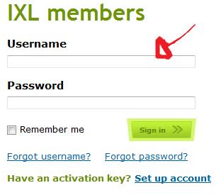 ixl login step 1