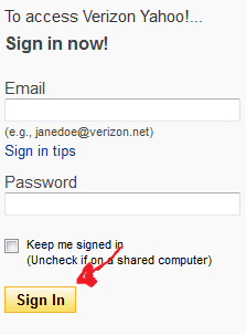 verizon yahoo login step 3