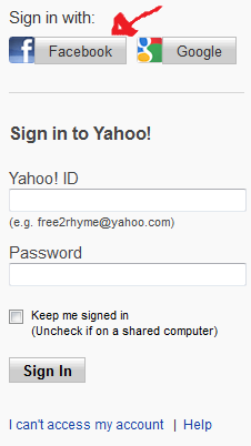 yahoo sign in with facebook