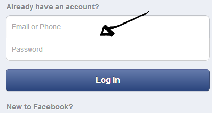 facebook mobile sign in step 1