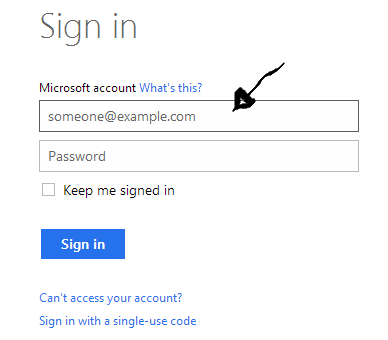 hotmail login step 1