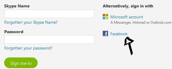 skype sign in step facebook microsoft
