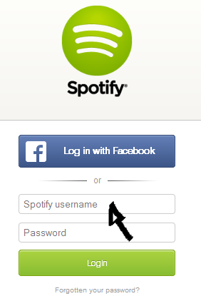 spotify web player sign in step 1