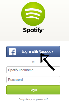 spotify web player sign in with facebook