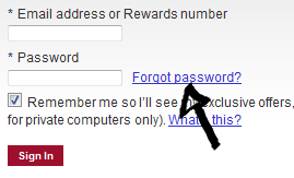 marriott rewards program password recovery