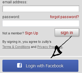 zulily sign in with facebook
