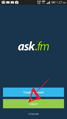 ask.fm mobile sign in button