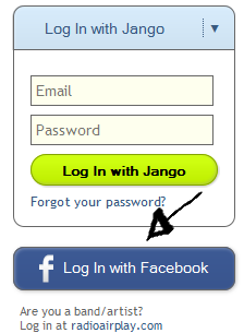 jango sign in with facebook